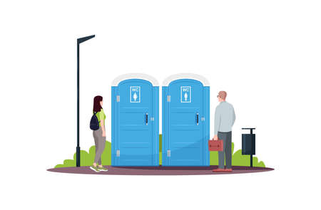 Woman and man in a queue for public toilets semi flat RGB color vector illustration. Mobile blue water closets. People waiting in a line at wc. Isolated cartoon characters on white background
