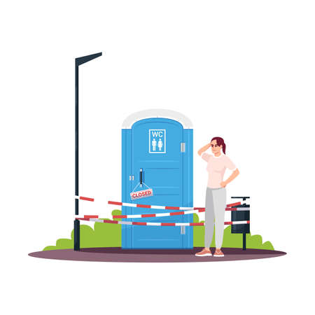 Confused young woman next to a closed WC semi flat RGB color vector illustration. Girl in trouble. Broken mobile unisex public toilet. Isolated cartoon character on white background