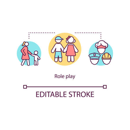 Role play concept icon. Creativity, imagination and empathy development. Children pretend games idea thin line illustration. Vector isolated outline RGB color drawing. Editable stroke