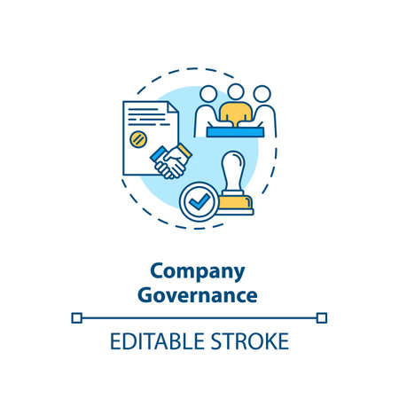 Company governance concept icon. Corporate management. Business partnership. Board of directors idea thin line illustration. Vector isolated outline RGB color drawing. Editable stroke Illustration