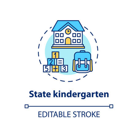 State kindergarten concept icon. Early childhood education. Preschool. Public child care center idea thin line illustration. Vector isolated outline RGB color drawing. Editable stroke