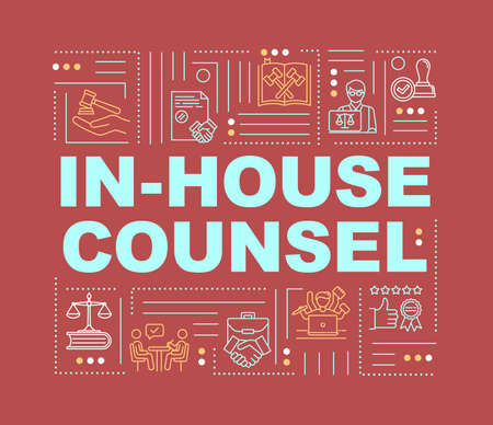 In house lawyer word concepts banner. Legal counsel. Advocate services. Infographics with linear icons on red background. Isolated typography. Vector outline RGB color illustration