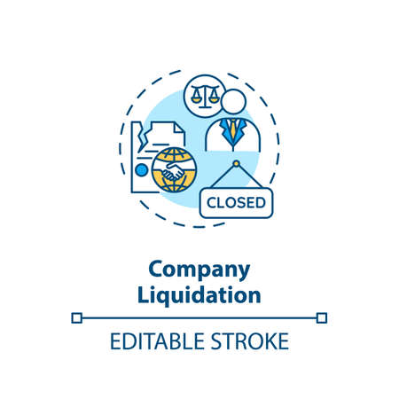 Company liquidation concept icon. Business loss and bankruptcy. Corporate management problem idea thin line illustration. Vector isolated outline RGB color drawing. Editable stroke