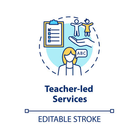 Teacher Led services concept icon. Toddlers education. Child guidance center. Play, child care school counselor idea thin line illustration. Vector isolated outline RGB color drawing. Editable stroke