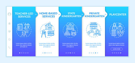 Children preschool center types onboarding vector template. Early childhood education. Parening. Responsive mobile website with icons. Webpage walkthrough step screens. RGB color concept Vettoriali