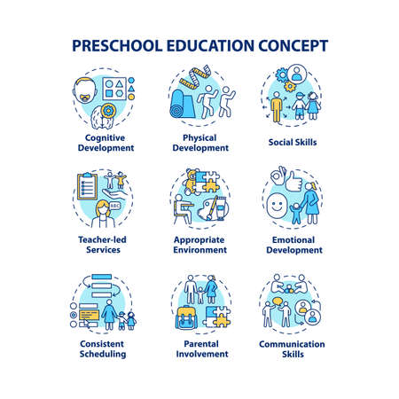Preschool education concept icons set. Early childhood goals. Childcare. Children physical and emotional development idea thin line RGB color illustrations. Vector isolated outline drawings