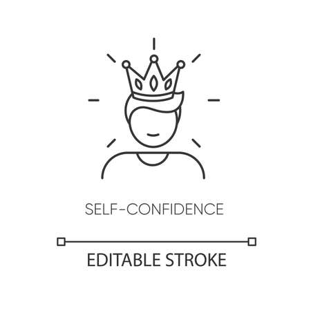 Self confidence pixel perfect linear icon. Thin line customizable illustration. Contour symbol. Self assured, egotistical person in crown vector isolated outline drawing. Editable stroke