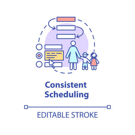 Consistent scheduling concept icon. Baby care centers and teachers. Kindergarten caretaker and guidance idea thin line illustration. Vector isolated outline RGB color drawing. Editable stroke
