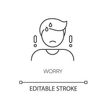 Worry pixel perfect linear icon. Emotional stress, anxiety thin line customizable illustration. Contour symbol. Worried, anxious person vector isolated outline drawing. Editable stroke 向量圖像