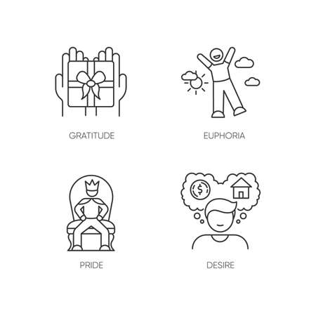 Emotions and personality traits pixel perfect linear icons set. Customizable thin line contour symbols. Gratitude, euphoria, pride and desire. Isolated vector outline illustrations. Editable stroke