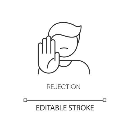 Rejection pixel perfect linear icon. Negative response, offer refusal. Thin line customizable illustration. Contour symbol. Person showing stop gesture vector isolated outline drawing. Editable stroke