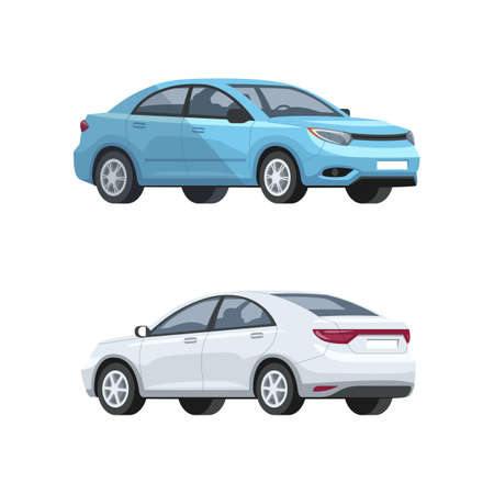 Elegant cars semi flat RGB color vector illustrations set. Luxury gray and blue automobiles. New vehicles side, front, back view. Urban transport means isolated cartoon items on white background