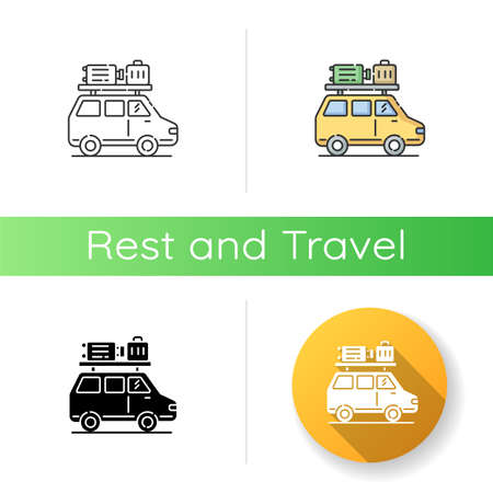 Road trip icon. Linear black and RGB color styles. Budget tourism, family vacation. Holiday season recreational activity, traveling by car. Auto with luggage isolated vector illustrations