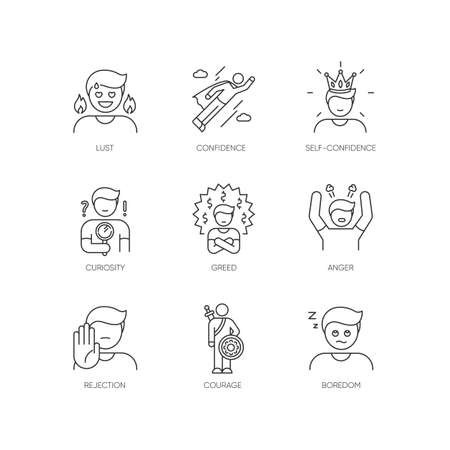 Human emotions pixel perfect linear icons set. Different psychological states and negative emotions customizable thin line contour symbols. Isolated vector outline illustrations. Editable stroke