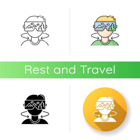 Virtual tourism icon. Linear black and RGB color styles. Modern vacation, interactive digital tour simulation.. Immersive experience. Tourist in VR headset isolated vector illustrations