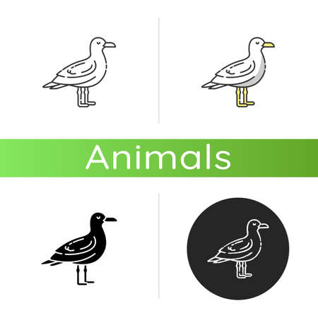 Seagull icon. Linear black and RGB color styles. Common seabird, ordinary flying animal. Beaches and coastlines inhabitant. Zoology, ornithology. Sea mew, gull isolated isolated vector illustrations