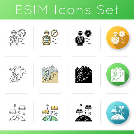 Rest and travel icons set. Linear, black and RGB color styles. African safari, trekking trail and hospitality exchange. Holiday adventure trip. Active recreation. Isolated vector illustrations
