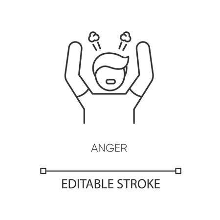 Anger pixel perfect linear icon. Negative emotion, bad mood thin line customizable illustration. Contour symbol. Stress management. Angry person vector isolated outline drawing. Editable stroke