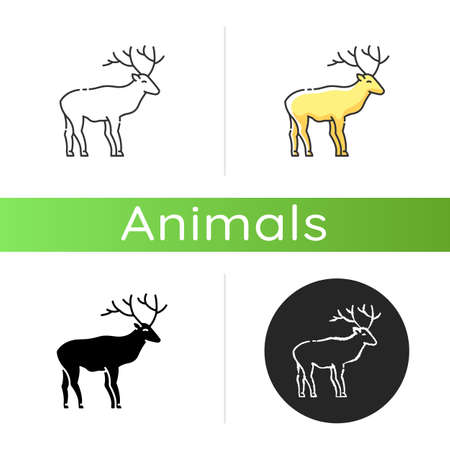 Deer icon. Linear black and RGB color styles. Hoofed ruminant mammal, herbivore animal with beautiful antlers. Forest wildlife. Majestic reindeer, horned stag isolated isolated vector illustrations