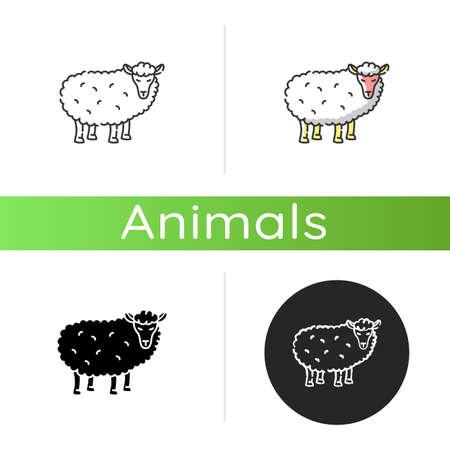 Sheep icon. Linear black and RGB color styles. Common countryside mammal, farm wildlife, domestic animal. Livestock breeding, husbandry, farming. Wooly lamb isolated isolated vector illustrations Ilustração