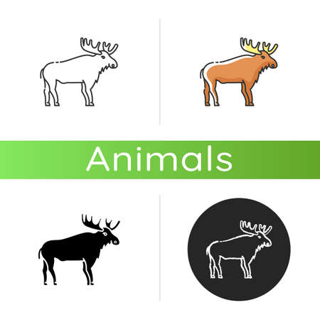 Elk icon. Linear black and RGB color styles. Hoofed ruminant animal with large antlers. American forest wildlife. Herbivore wapiti with big horns. Canadian moose isolated isolated vector illustrations
