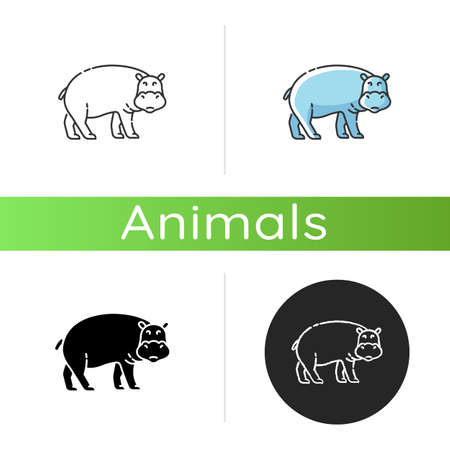 Hippo icon. Linear black and RGB color styles. Large exotic animal, african fauna, tropical semiaquatic mammal. Tropical zoo mascot, huge behemoth. Hippopotamus isolated isolated vector illustrations