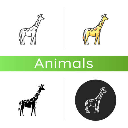 Giraffe icon. Linear black and RGB color styles. Exotic animal with long neck, african herbivore wildlife. African savanna, tropical zoo. Tall camelopard isolated isolated vector illustrations