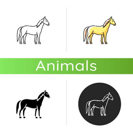 Horse icon. Linear black and RGB color styles. Wild stallion, common steed, mare. Equestrian sport, horse breeding. Purebred racehorse, untamed mustang isolated isolated vector illustrations