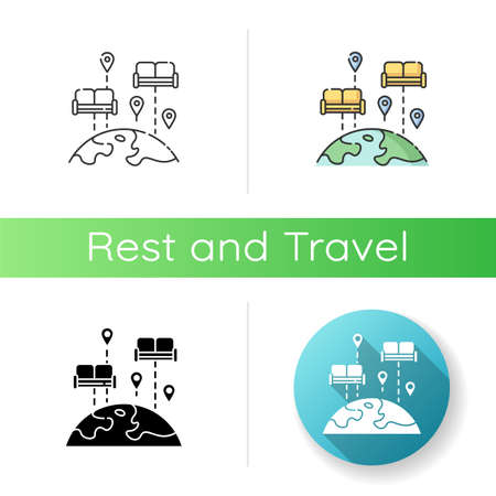 Linear black and RGB color styles. Budget tourism. Finding affordable accommodation in travel. Hospitality exchange. World map with couches isolated vector illustrations 일러스트