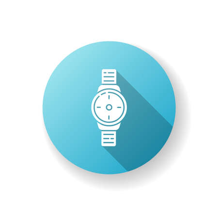 Wrist watch blue flat design long shadow glyph icon. Male hand clock. Time on dial. Interface to timer. Classic male watch on strap. Bracelet to check time. Silhouette RGB color illustration