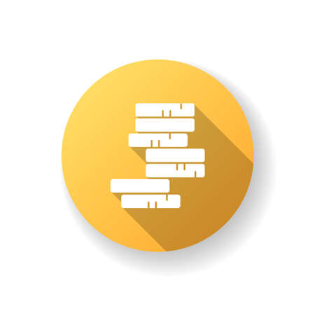 Stack of coins yellow flat design long shadow glyph icon. Pile of money. Growing income. Investment in gold. Stock earning. Profit in cash. Rich and success. Silhouette RGB color illustration