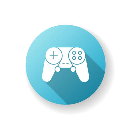 Gamepad blue flat design long shadow glyph icon. Video game controller. Wireless joystick for play station. Electronic device for entertainment. Modern technology. Silhouette RGB color illustration
