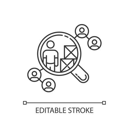 Vendor selection pixel perfect linear icon. Production distribution network, logistics thin line customizable illustration. Contour symbol. Vector isolated outline drawing. Editable stroke Illustration