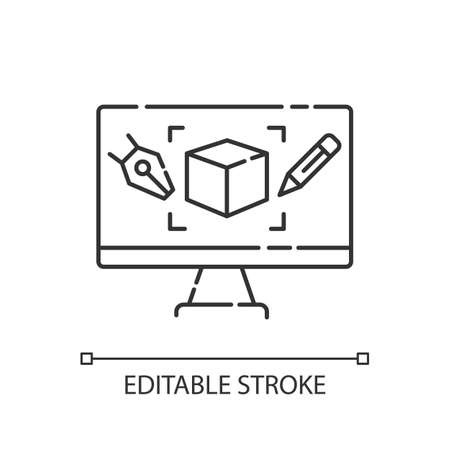 Computer aided design pixel perfect linear icon. Graphic design, computer aided manufacturing thin line customizable illustration. Contour symbol. Vector isolated outline drawing. Editable stroke