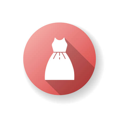 Dress red flat design long shadow glyph icon. Woman clothes. Boutique to buy female garment. Luxury evening apparel for girl. Cocktail dress model for prom. Silhouette RGB color illustration