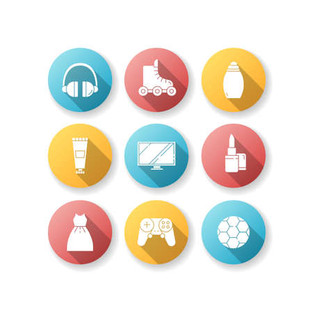 Online shop categories flat design long shadow glyph icons set. Electronic devices. Modern technology. Digital screens. TV monitors. Art and craft. Repair tool. Silhouette RGB color illustration