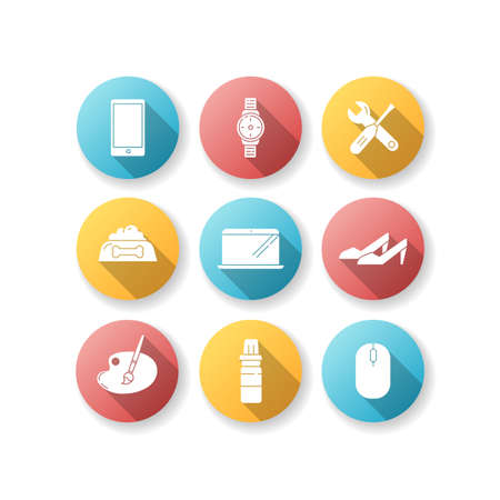 Online shop departments flat design long shadow glyph icons set. Electronic gadgets. Portable device. Headset for DJ. Roller skates. Child care. Fashion and beauty. Silhouette RGB color illustration