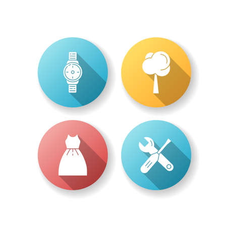 Male and female products flat design long shadow glyph icons set. Hand watch for man. Plant for gardening. Tools for repair. Tree growth. Instruments for fixing. Silhouette RGB color illustration