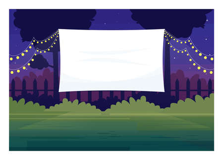 Festive outdoor cinema screen semi flat vector illustration. Open air decorated place with lanterns. Film premiere outside. Public park. Outdoors movie night 2D cartoon scene for commercial use