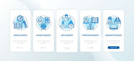 Indian religious holidays onboarding mobile app page screen with concepts. Hindu and Islamic holidays. Walkthrough 5 steps graphic instructions. UI vector template with RGB color illustrations 向量圖像