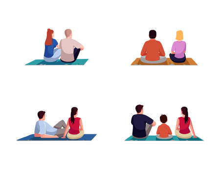 Weekend lounge semi flat RGB color vector illustration set. Couple on picnic date. Family bonding and resting together. People on blanket isolated cartoon characters on white background collection