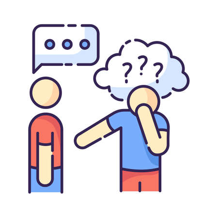 Asperger syndrome RGB color icon. Difficulty with communication. Social anxiety. Man with disorder. Autistic spectrum symptom. Speech impairment. Interaction problem. Isolated vector illustration