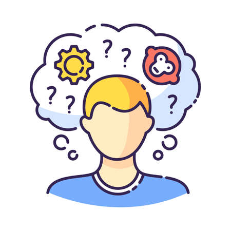 Intellectual disability RGB color icon. Person with short term memory loss. Think in confusion. Amnesiac man. Anxious question. Chronic disease. Mental problem. Isolated vector illustration Vektoros illusztráció