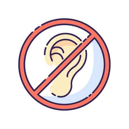 Deafness RGB color icon. Impaired hearing. Difficulty with communication. Deaf person. Health care problem. Loss of hearing. Medical condition. Avoid noise. Isolated vector illustration