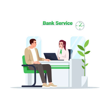 Bank service semi flat RGB color vector illustration. Customer on reception. Man talk with advisor. Male client with female consultant isolated cartoon character on white background Ilustrace