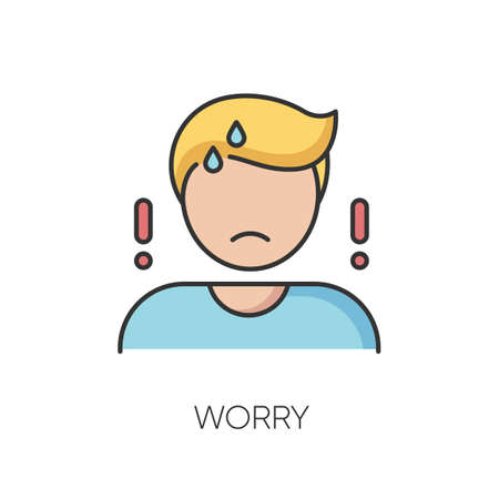 Worry RGB color icon. Emotional stress, anxiety. Concerned, nervous mental state. Bad feeling, trouble reaction. Worried, anxious person isolated vector illustration 向量圖像