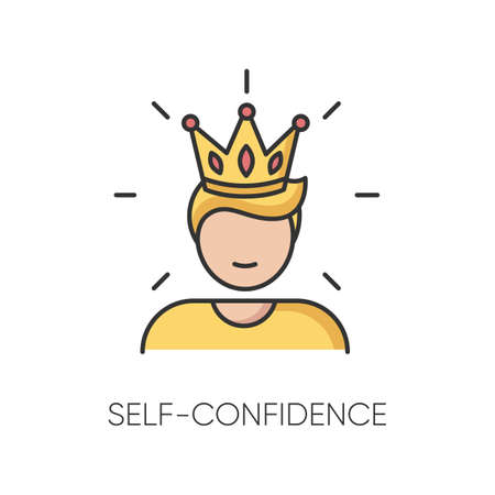 Self confidence RGB color icon. Feeling of overconfidence, narcissism. Arrogant attitude. Self assured, egotistical person in crown isolated vector illustration