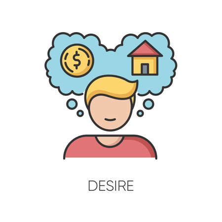 Desire RGB color icon. Self motivation, wishes visualization. Personal aspirations, goals and ambitions. Person planning to buy house isolated vector illustration Ilustração Vetorial