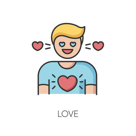 Love RGB color icon. Feeling of strong affection, emotional attachment, passion. Romantic relationship, Valentine day. Person in love isolated vector illustration Иллюстрация