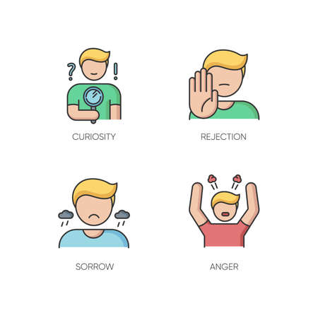 Mood and temperament RGB color icons set. Good and bad emotions, different human feelings. Curiosity, rejection, sorrow and anger. Isolated vector illustrations